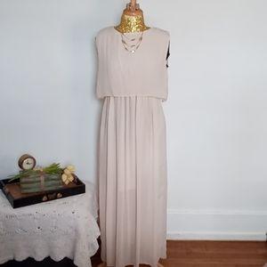 Blush Pink Boho Chiffon Maxi Dress XL NWOT